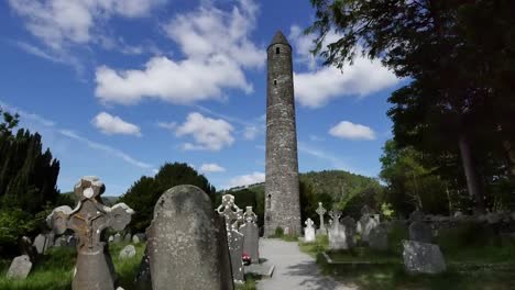 Ireland-Glendalough-Round-Tower-At-Celtic-Monastery-Morning-Time-Lapse