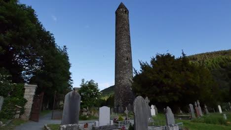 Ireland-Glendalough-Round-Tower-In-Shadow