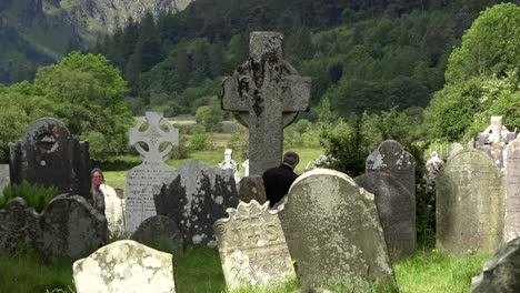 Ireland-Glendalough-With-Cemetery-And-Large-High-Cross