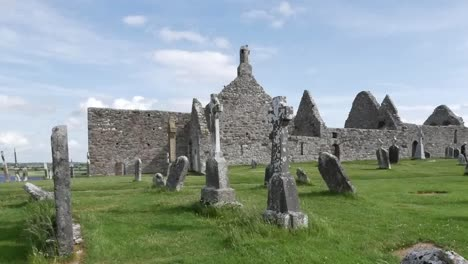 Ireland-Clonmacnoise-Celtic-Crosses-Mark-A-Cemetery-By-Cathedral-Ruins-Pan