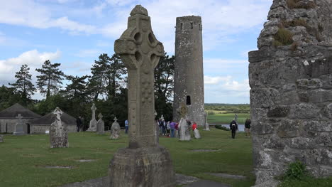 Ireland-Clonmacnoise-South-High-Cross-And-Round-Tower