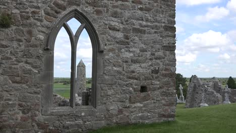 Ireland-Clonmacnoise-Round-Tower-Through-A-Gothic-Window