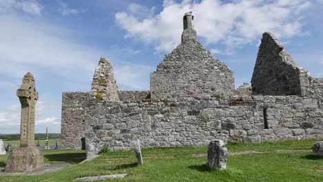 Ireland-Clonmacnoise-Sun-Brightens-Cathedral-Stones-Pan