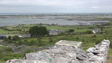Ireland-County-Clare-Stone-Wall-On-Hillside-Above-Estuary-