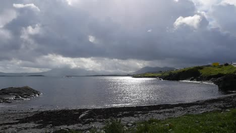 Ireland-County-Galway-Sun-On-Water-With-Clouds