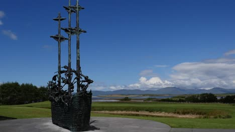 Ireland-County-Mayo-Coffin-Ship-Sculpture-And-Blue-Sky