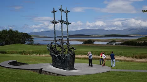 Ireland-County-Mayo-Famine-Memorial-Ship-With-Tourists
