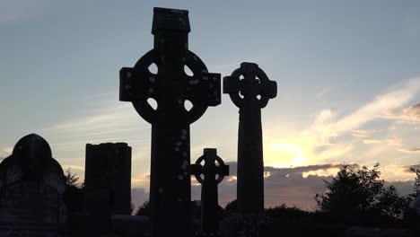 Ireland-County-Sligo-Three-Celtic-Crosses-At-Sunset-Pan-