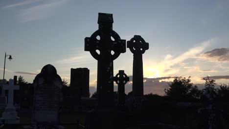 Ireland-County-Sligo-Three-Celtic-Crosses-At-Sunset-
