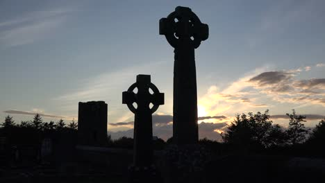Ireland-County-Sligo-Zooms-On-Silhouette-Of-Celtic-Crosses-At-Sunset-
