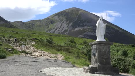 Ireland-Croagh-Patrick-Statue-And-Path-Up-Mountain
