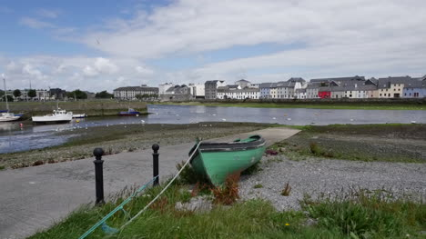 Ireland-Galway-Bay-A-Green-Boat-Rests-On-The-Shore