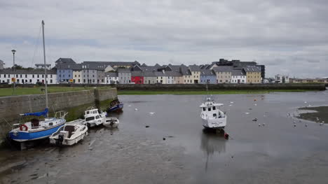 Ireland-Galway-Bay-Boats-At-Low-Tide-With-Houses-On-The-Opposite-Bank