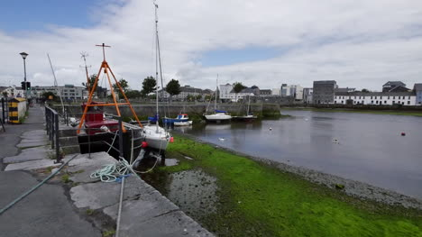 Ireland-Galway-Bay-With-Boat-Tied-To-Dock