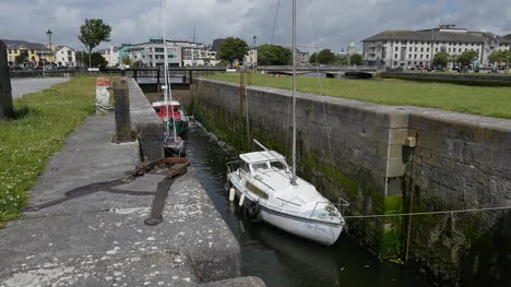 Ireland-Galway-City-Boat-In-Lock