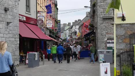 Ireland-Galway-City-Tourist-Crowd-In-Old-Section-Of-City