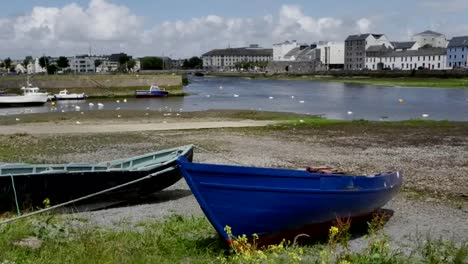 Ireland-Galway-City-Boats-Along-Bay-Shore-Pan
