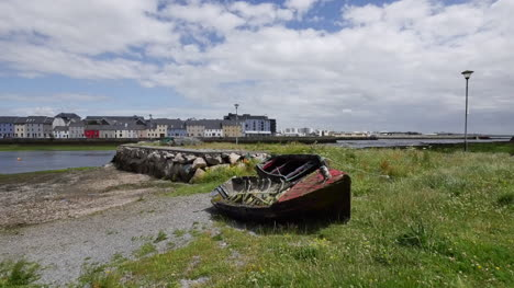 Ireland-Galway-City-Ruined-Boat-On-The-Shore