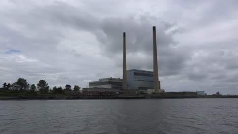 Ireland-Power-Plant-Seen-From-A-Ferry-Across-Estuary-