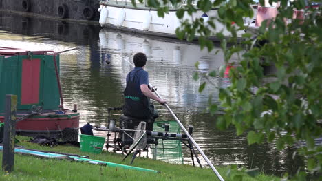 Ireland-Woman-Fishing-In-A-County-Offaly-Canal