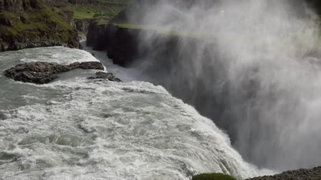 Iceland-Gullfoss-Waterfall-Over-Edge-With-Mist-Zoom