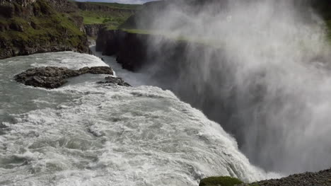 Iceland-Gullfoss-Waterfall-Over-Edge-With-Mist