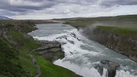 Iceland-Gullfoss-Waterfall-Overview-With-Tourists