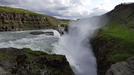 Iceland-Gullfoss-Waterfall-With-Gorge-And-Rising-Mist