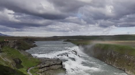 Iceland-Gullfoss-Waterfall-With-Path-Pan-And-Tilt