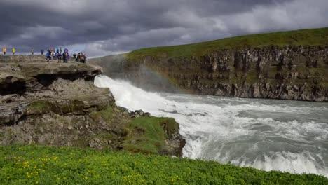 Iceland-Gullfoss-Waterfall-With-People-Watching