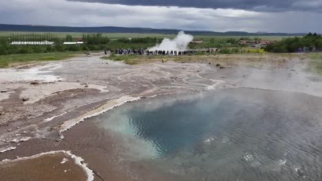 Iceland-Haukadalur-Geothermal-Steam-From-Pool-And-Geyser