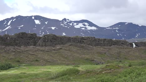 Iceland-Pingvellir-Fault-Scarp-Along-Plate-Boundary-With-Waterfall