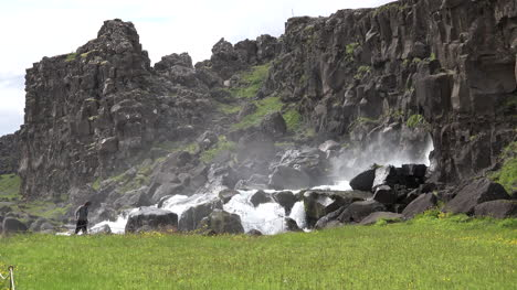 Iceland-Pingvellir-Cliffs-And-Edge-Of-Waterfall