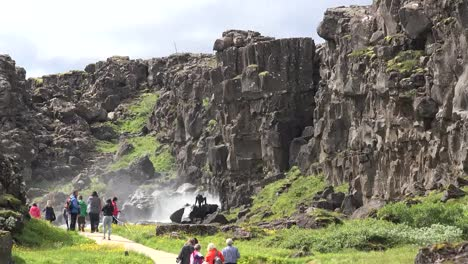 Iceland-Pingvellir-Cliffs-Of-The-Rift-Near-Waterfall
