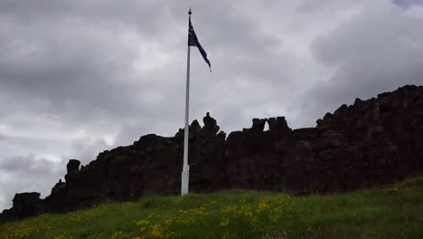 Iceland-Pingvellir-Flag-And-Grey-Sky