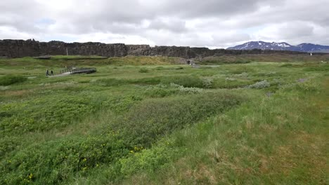 Iceland-Pingvellir-View-With-Bridge-And-Rift
