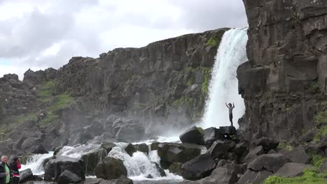 Iceland-Pingvellir-Waterfall-Over-Rift-Cliffs
