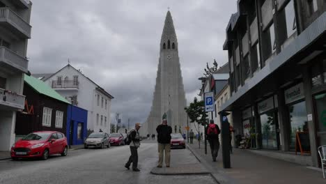 Iceland-Reykjavik-Hallgrimskirkja-Cathedral-And-People-On-Shopping-Street