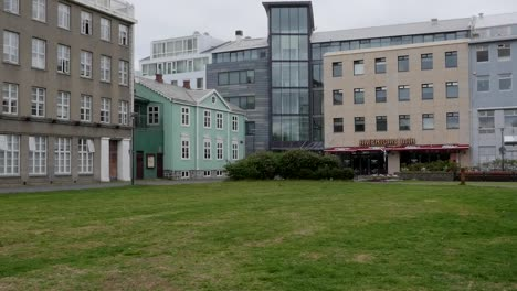 Iceland-Reykjavik-Buildings-Around-A-Grassy-Area