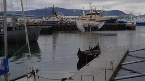 Iceland-Reykjavik-Harbor-With-Viking-Boats