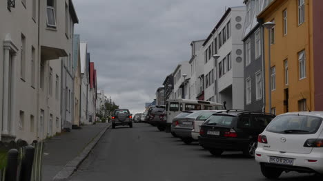 Iceland-Reykjavik-Houses-Along-A-Street-With-Parked-Cars