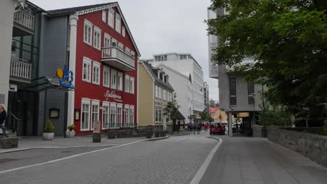 Iceland-Reykjavik-Street-With-Red-Building