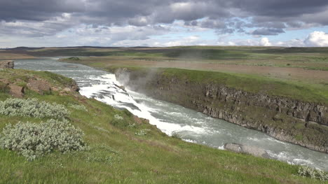 Iceland-Clouds-Above-Waterfall-Pan-And-Zoom
