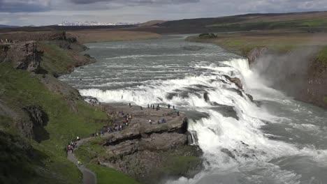 Iceland-Tourists-Gathering-Above-Gullfoss-Waterfall