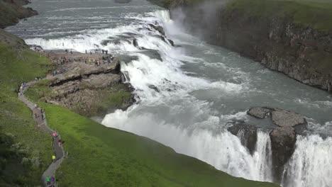 Iceland-Tourists-On-Path-Above-Gullfoss-Waterfall