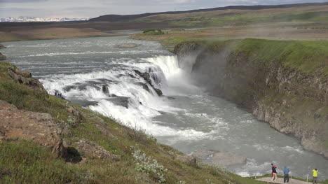 Iceland-Tourists-On-Platform-Above-Gullfoss-Waterfall