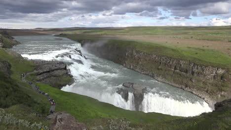 Iceland-Tourists-On-Winding-Path-By-Gullfoss-Waterfall