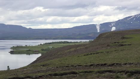 Iceland-View-Of-Lake-Pingvallavtn-With-Distant-Steam-Clouds-Pan