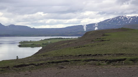Iceland-View-Of-Lake-Pingvallavtn-With-Distant-Steam-Clouds