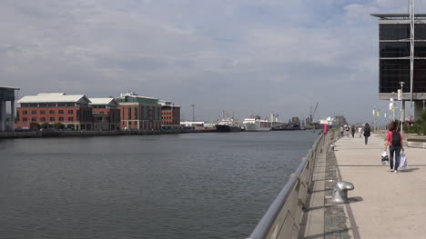 Northern-Ireland-Belfast-Walkers-Along-Queens-Quay-And-Odyssey-Pavilion-Pan-